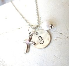 Girl's Baptism Gift. Children's Birthstone Cross Necklace. Circle Initial & Pearl Charm Necklace. First  Communion Gift. Birthstone Jewelry on Etsy, $30.00