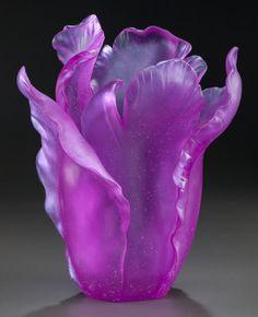 Art Glass:Daum, DAUM PATE-DE-VERRE GLASS ULTRA VIOLET TULIPE VASE. Late 20thcentury, Engraved: Daum, France, 125. 13 inches... Image #1
