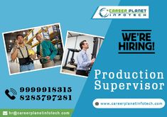 Develops and implements production policies and procedures •Delegates manufacturing tasks so that team can meet production deadlines •Manages the efforts of manufacturing workers on the production floor . #instabusiness, #manufacturing #supervisior #manufacturingengineer #sales #Industry #jobscomapny #Hiring Interested candidates send me your updated resume at jobs@careerplanetinfotech.com or WhatsApp at :- 8826843186  With Regards CPI Team   Career Planet Infotech www.careerplanetinfotech.c
