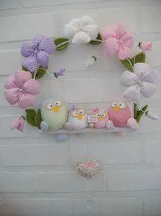 Owl wreath, венок в совушками, подарок для семьи