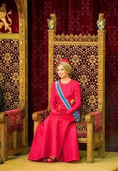 Queen Maxima sits in the Ridderzaal (Knights hall) while the king addresses his speech from the throne at annual Prinsjesdag in The Hague, The Netherlands, 16.09.2014.