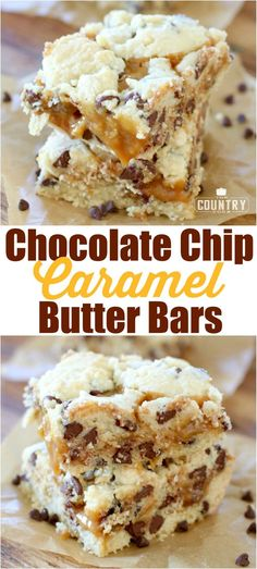 Chocolate Chip Caramel Butter Bars recipe from The Country Cook