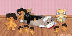 Dr Evil Jr New Sock Monkey Cat Bed with his Troll Minions