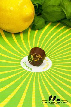 Chocolat collection ephémère 2012 .  Ganache au chocolat au lait au cacao de Grenade (44 %) au citron jaune et au basilic, enrobage au chocolat au lait   http://www.guillaumevincentchocolatier.com/bonbons-de-chocolat/45-collection-ephemere.html
