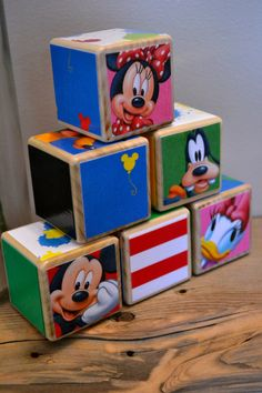 Disney Blocks / Mickey Mouse / Pluto / Book Blocks / Natural Wood Toy / Baby Shower Gift / Storybook Blocks / Personalize - set of 10 on Etsy, $35.00