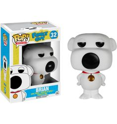 Family Guy - Brian Griffin Funko Pop! Vinyl Figure The family dog that can inexplicably talk fluent English.... Why doesn't anyone question that? Also he is Peter's best friend and often the voice of reason.  Other pops in this set include Peter, Stewie and Ray Gun Stewie