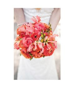 We love this pink & coral bridal bouquet. [Photo by Melanie Duerkopp]