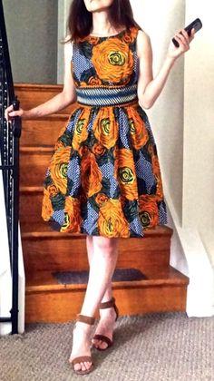 NWOT $228 Anthropologie Dress Mille Collines Moonrise fit & flare orange navy 2 #MilleCollines #fitflaredress #versatile