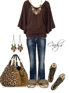love the brown....and of course the leopard accessories