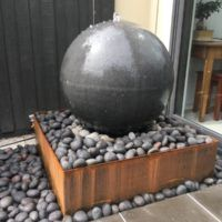 Stone Sphere waterfeature available at www.waterfeaturesdirect.com.au Sphere Water Feature, Water Packaging, Garden Balls, Outdoor Living, Outdoor Decor, Water Features, Pond, Melbourne, Fountain