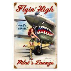 Pin Up Girl Vintage, Retro Pin Up, Vintage Metal Signs, Vintage Ads, Vintage Room, Vintage Travel, Vintage Kitchen, Vintage Photos, Aviation Decor