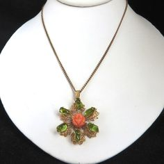 Green Flower Pendant, Vintage Necklace, Coral Rose Pendant Necklace, Celluloid Rose, Green Leaf Pendant, Retro Costume Jewelry Gift