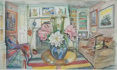 Richard Bawden, Interior with Roses Drawing Sketches, Drawings, Art Interiors, Cat Art, Room Interior, Screen Printing, Roses, Windows, Art Prints