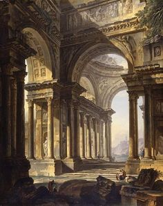 "Pierre Antoine Demachy, ""Temple in ruins"", 1759."