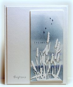 handmade card: Freedom by Biggan ... stormy blue sky ... delicate cat tails die cut in white ... a piece of art ...
