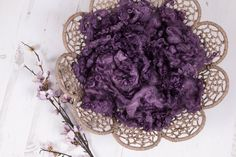 """RTS. Textured Fluff """"Blackberry Bliss"""", basket stuffer, wool fluff, newborn prop, cotswold loose locks, deep purple, naturally dyed by NatartMadeThis on Etsy https://www.etsy.com/uk/listing/569364039/rts-textured-fluff-blackberry-bliss"""