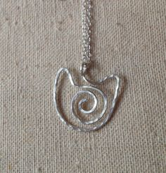 Sterling Silver Hammered Wire Cat Pendant Necklace by RadiantRays