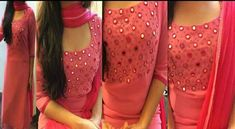 latest neck designs with embroidery suit and kurti - The Handmade Crafts Churidar Designs, Kurti Neck Designs, Dress Neck Designs, Blouse Designs, Salwar Pattern, Kurta Patterns, Dress Patterns, Kurti Embroidery Design, Embroidery Suits
