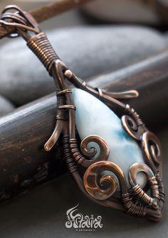 Larimar wire wrapped pendant