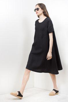 69 Basic Dress - Black Linen