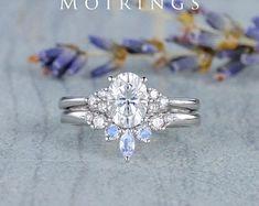 HANDMADE RINGS & BRIDAL SETS by MoissaniteRings on Etsy Bridal Ring Sets, Handmade Rings, Moissanite, Merry, Engagement Rings, Jewelry, Enagement Rings, Jewels, Schmuck