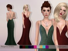 A long gown with a mermaid skirt with a glittery texture Found in TSR Category 'Sims 4 Female Formal'