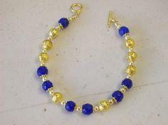 Dressy Bracelet in Dark Blue and Gold  Fancy Dressy by marcenebt99, $22.00