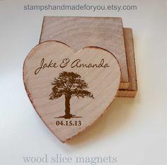 Rustic Wedding Favor Wood Magnets50 Custom by stampshandmadeforyou, $79.20