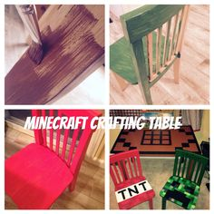 Repurposed Kids Table to Mine raft Crafting Table Minecraft Room Decor, Minecraft Decorations, Minecraft Bedroom, Minecraft Crafts, Minecraft Party, Minecraft Furniture, Boys Game Room, Minecraft Mansion, Boy Room Paint