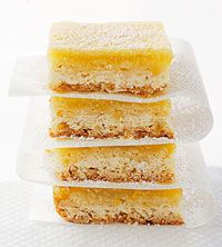 Skinny lemon bars- 100 calories per serving. The crust is really scrumptious!