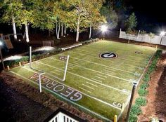 :O lucky! Football field in the backyard! Would work perfect with Stevie because he loves football Backyard Sports, Backyard Baseball, Backyard For Kids, Backyard Playground, Backyard Games, Playground Ideas, Landscaping With Rocks, Backyard Landscaping, Yard Party