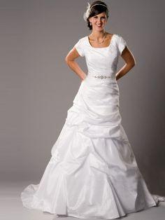 2013 Princess A-Line Square Satin Modest Wedding Dresses