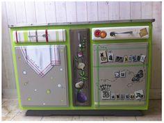 Buffet La maison du bonheur - meuble de Julie - stage peinture mam'zelle Thérébentine