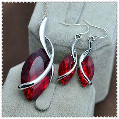 Nieuwe Romantische mode-sieraden set crystal glas water drop ketting oorbel cadeau voor vrouwen meisje topkwaliteit S667