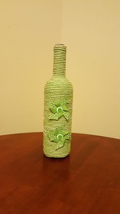 Hey, I found this really awesome Etsy listing at https://www.etsy.com/listing/271965888/green-and-white-wrapped-bottle-with