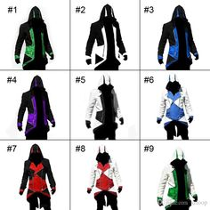 Wholesale and cool jackets for sale, coats mens and brown leather jackets with a large variety of choices can be found here. Different kinds of  Assassin's Creed 3 Connor Coat Assassins Creed Cosplay Hoodies Assassin Creed 9 Colors Jacket Cosplay Costume 2120018 can be provided by szloop.