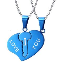"""Blowin His Hers Matching Key to Heart Set Stainless Steel """"I LOVE YOU""""... ($5.99) ❤ liked on Polyvore featuring jewelry, necklaces, pendant necklace, stainless steel heart necklace, stainless steel jewelry, heart shaped necklace and blue pendant necklace"""