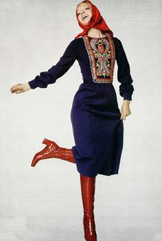 L'officiel 1976 embroidered folk dress