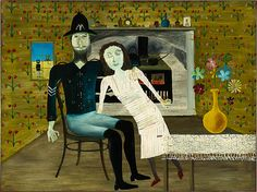 Sidney Nolan Ned Kelly Series - Constable Fitzpatrick and Kate Kelly 1946 Australian Painting, Australian Artists, Sidney Nolan, Ned Kelly, Z Arts, Enamel Paint, Melbourne, Sydney, Brighton