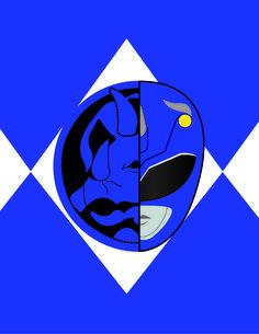 Power Rangers Blue Zord Poster Adult Black Back 100/% Poly T-Shirt