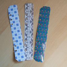 A5 Filofax pagemarkers - set of 3.  Pretty blue tones.  JustKeepPinning Etsy