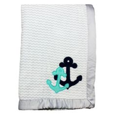 Wendy Bellissimo™ Mix & Match Anchor Applique Plush Blanket in Grey/Teal - buybuyBaby.com