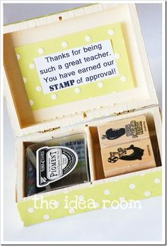 Teacher gift - like this idea but will NOT be going to the effort of making my own box!
