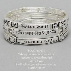 DR - Womens Bracelet Silver, 3 pc Bangle, Footprints, Bible Verse Value Line, http://www.amazon.com/dp/B005VRF7YG/ref=cm_sw_r_pi_dp_iV5Qqb1GRFBPR