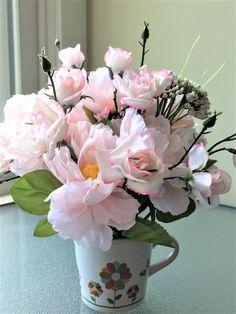 Mug Of Roses Flower Arrangement, Small Silk Centerpiece, Artificial Flowers,  Small Silk Flower