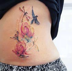 Flora an fauna watercolor tattoo by Jemka