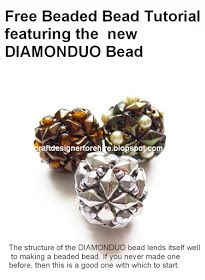 Free Beaded Bead Tutorial using newest addition to the two-hole bead group the DiamonDuo™ Bead