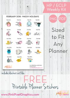 Download your free Wacky Holidays printable planner stickers for February. Free and Functional planner sticker printables. See more at www.pinkpixelgraphics.com Happy Planner Kit, Free Planner, Planner Pages, 2018 Planner, Calendar Stickers, Journal Stickers, Holiday Planner, Summer Planner, Wacky Holidays