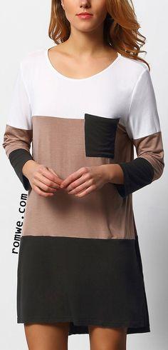 Black White Color Block Pockets Dress