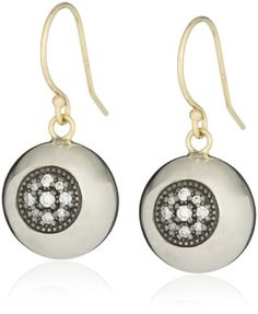 Mizuki Silver and Gold Diamond Evil Eye Ball Earrings * To view further for this item, visit the image link.